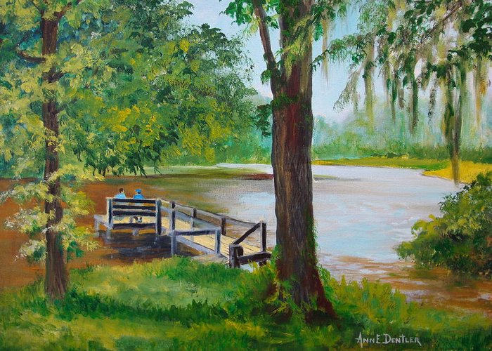 Lake Greeting Card featuring the painting Joey's Back Yard by AnnE Dentler