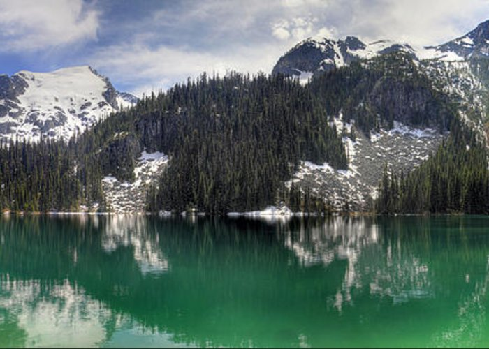 Joffre Greeting Card featuring the photograph Joffre Lake Middle Panorama B.c Canada by Pierre Leclerc Photography
