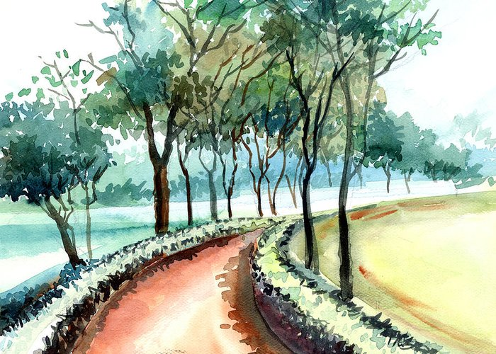 Landscape Greeting Card featuring the painting Jogging Track by Anil Nene