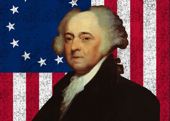 John Adams Greeting Card featuring the painting John Adams And The American Flag by War Is Hell Store