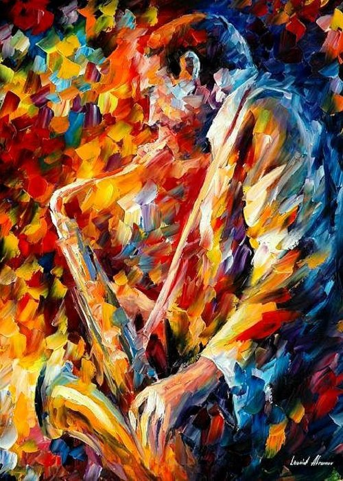 Music Greeting Card featuring the painting John Coltrane by Leonid Afremov