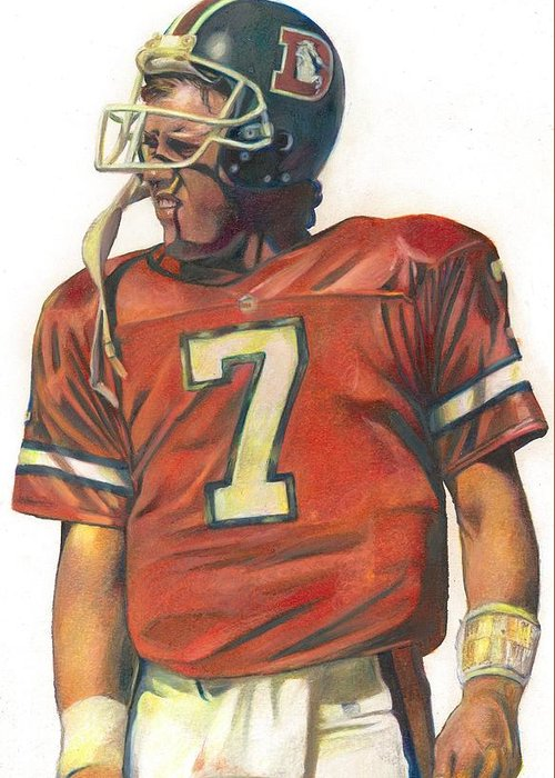 John Elway Greeting Card featuring the drawing John by Darren Chilton