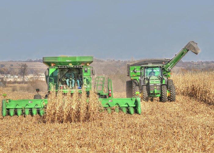 John Deere Combine >> John Deere Combine Picking Corn Followed By Tractor And Grain Cart