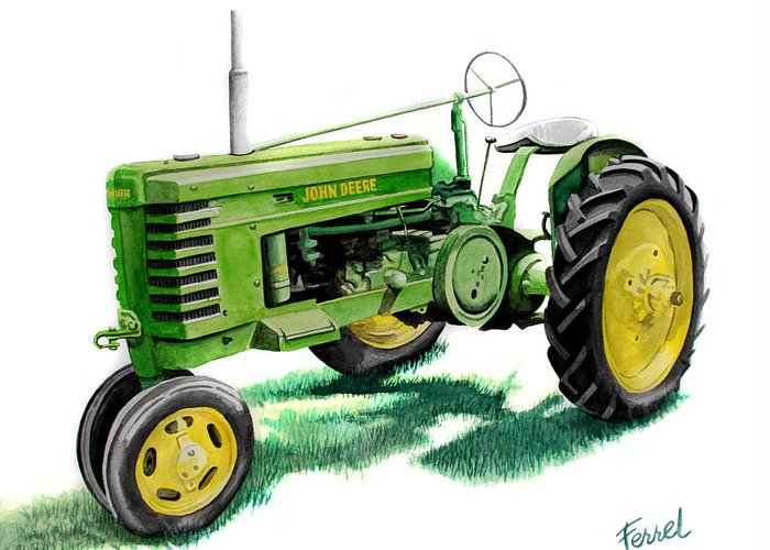 John Deere Tractor Greeting Card featuring the painting John Deere Tractor by Ferrel Cordle