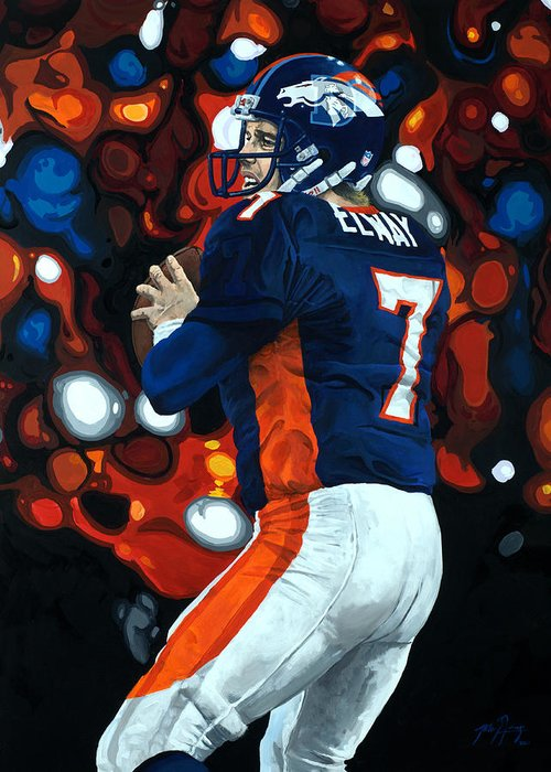 Denver Greeting Card featuring the painting John Elway - Legacy by Mike Lorenzo