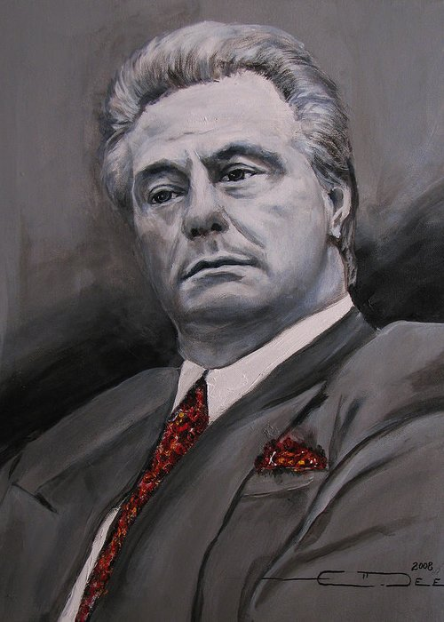 Gotti Greeting Card featuring the painting John Gotti by Eric Dee