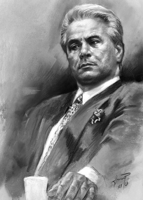 John Gotti Greeting Card featuring the drawing John Gotti by Ylli Haruni