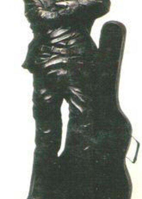 Visionary Greeting Card featuring the sculpture John Lennon by Larkin Chollar