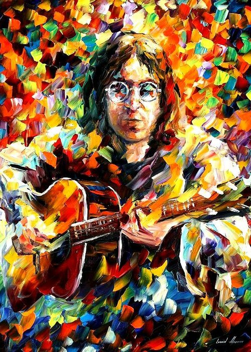 Beatles Greeting Card featuring the painting John Lennon by Leonid Afremov