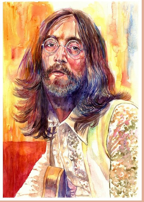 John Lennon Greeting Card featuring the painting John Lennon watercolor by Suzann Sines