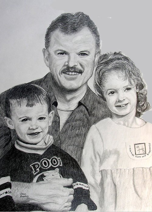Portrait Greeting Card featuring the drawing John Megan And Joey by Stan Hamilton