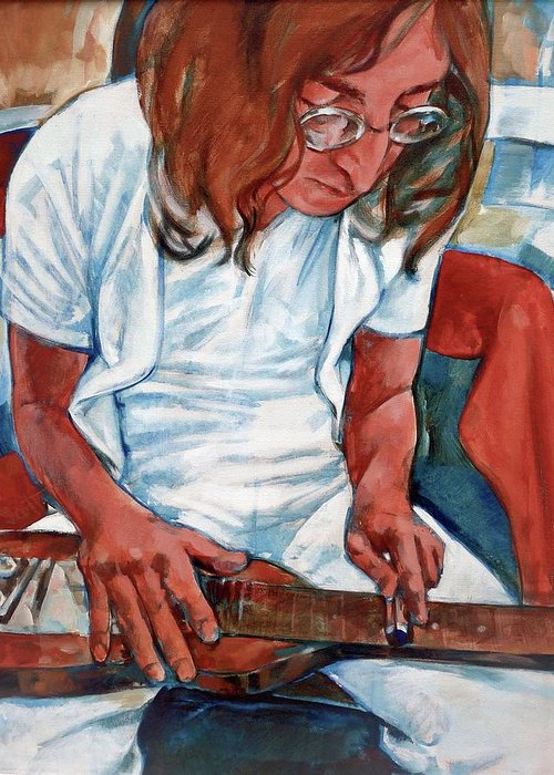 John Lennon Portrait Beatles Music Musician Rock Greeting Card featuring the painting John by Scott Waters