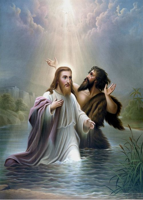 Jesus Greeting Card featuring the painting John The Baptist Baptizes Jesus Christ by War Is Hell Store