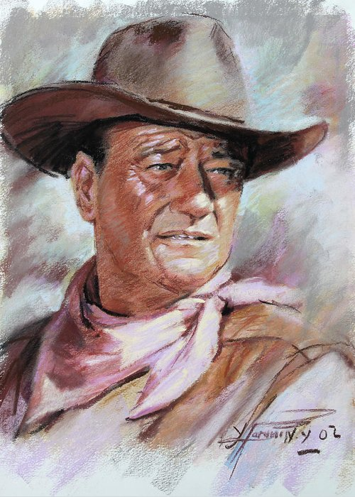 John Wayn Greeting Card featuring the pastel John Wayn by Ylli Haruni