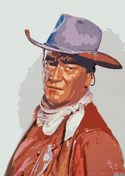 John Wayne Greeting Card featuring the painting John Wayne - The Duke by David Lloyd Glover