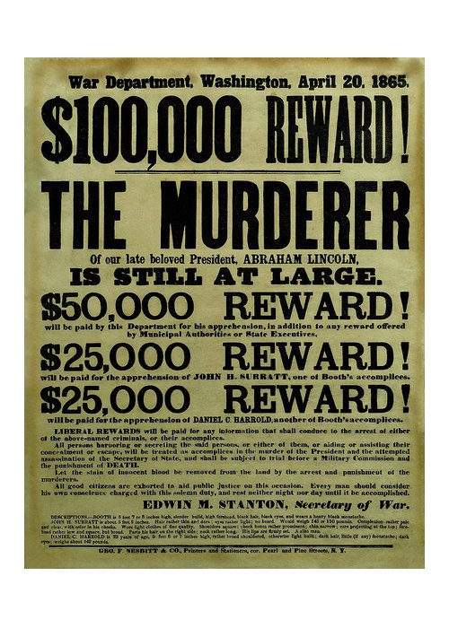Wanted Greeting Card featuring the mixed media John Wilkes Booth Wanted Poster by War Is Hell Store