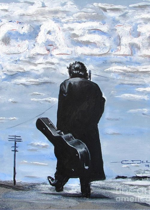 Johnny Cash Greeting Card featuring the painting Johnny Cash - Going To Jackson by Eric Dee