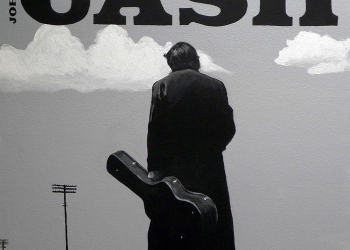 Johnny Cash Greeting Card featuring the painting Johnny Cash by Tom Carlton