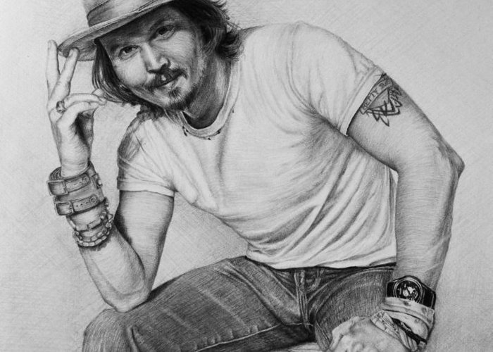 Portrait Greeting Card featuring the drawing Johnny Depp by Angela Hannah