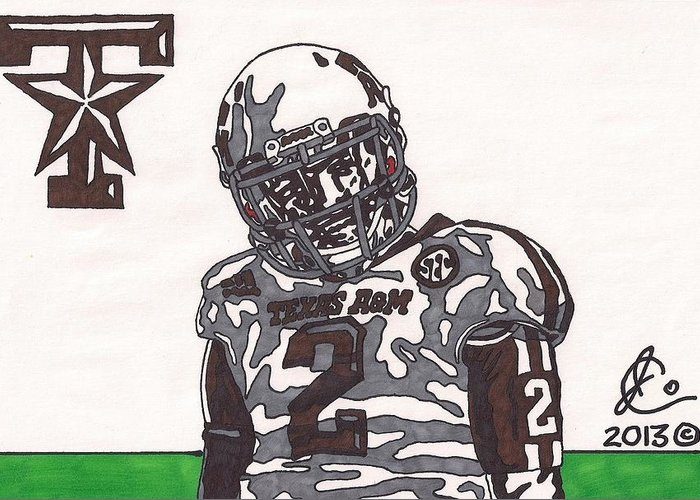 American Football Greeting Card featuring the drawing Johnny Manziel 11 by Jeremiah Colley