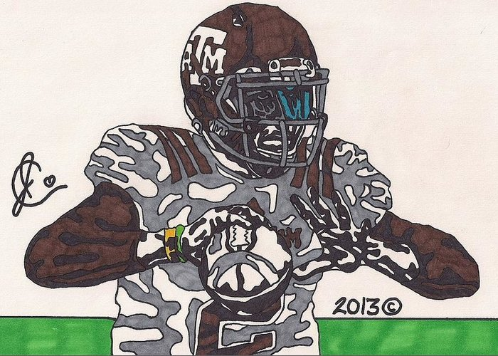 American Football Greeting Card featuring the drawing Johnny Manziel 12 by Jeremiah Colley