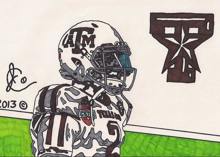 American Football Greeting Card featuring the drawing Johnny Manziel 13 by Jeremiah Colley