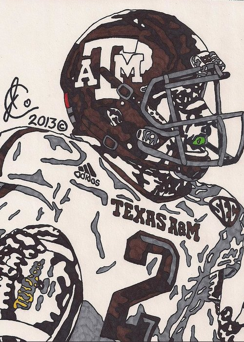American Football Greeting Card featuring the drawing Johnny Manziel 5 by Jeremiah Colley