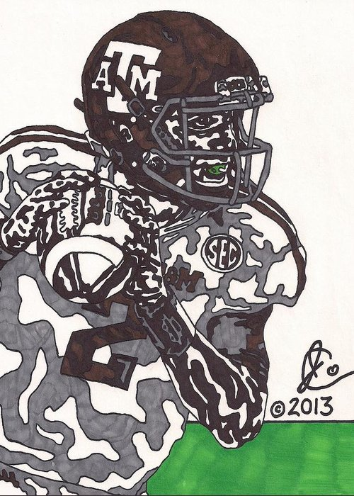 American Football Greeting Card featuring the drawing Johnny Manziel 8 by Jeremiah Colley