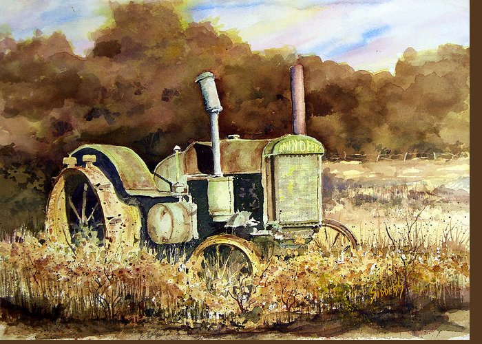 Tractor Greeting Card featuring the painting Johnny Popper by Sam Sidders