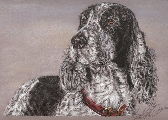 Dog Greeting Card featuring the pastel Johnny by Terry Kirkland Cook