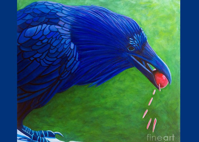 Raven Greeting Card featuring the painting Joie De Vivre by Brian Commerford