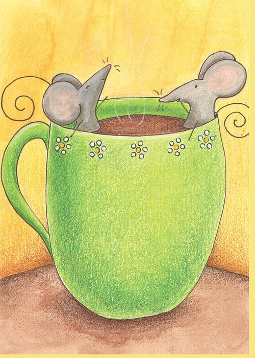 Mice Greeting Card featuring the painting Join Me In A Cup Of Coffee by Christy Beckwith