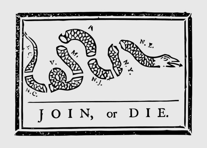 Join Or Die Greeting Card featuring the mixed media Join Or Die by War Is Hell Store