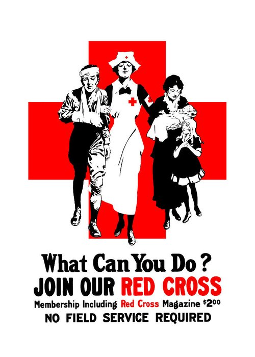 Red Cross Greeting Card featuring the painting Join Our Red Cross by War Is Hell Store