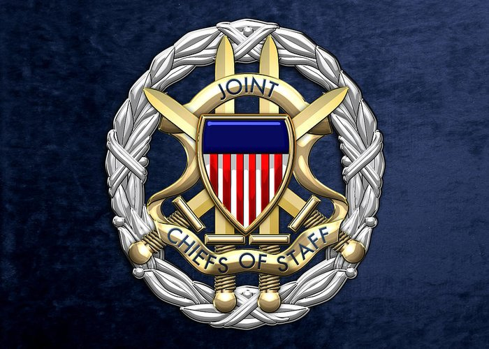 'military Insignia & Heraldry 3d' Collection By Serge Averbukh Greeting Card featuring the digital art Joint Chiefs Of Staff - J C S Identification Badge On Blue Velvet by Serge Averbukh