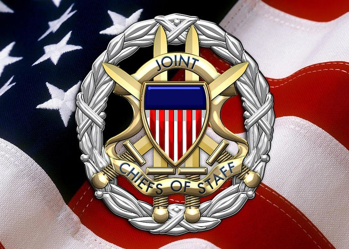 'military Insignia & Heraldry 3d' Collection By Serge Averbukh Greeting Card featuring the digital art Joint Chiefs Of Staff - J C S Identification Badge Over U. S. Flag by Serge Averbukh