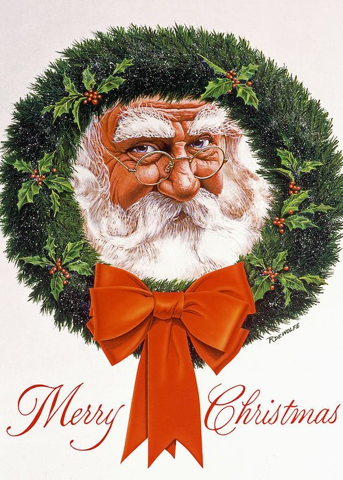 Santa Greeting Card featuring the painting Jolly Old Saint Nick by Richard De Wolfe