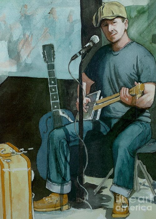 Musician Greeting Card featuring the painting Jon Short-have Blues Will Travel by Lynn Babineau