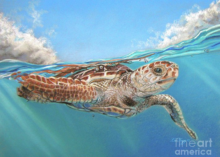 Sea Life Greeting Card featuring the painting Jonah by Deb LaFogg-Docherty