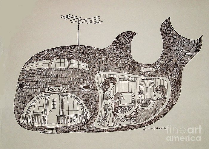 Jonah In His Whale Home Greeting Card featuring the drawing Jonah In His Whale Home. by Fred Jinkins