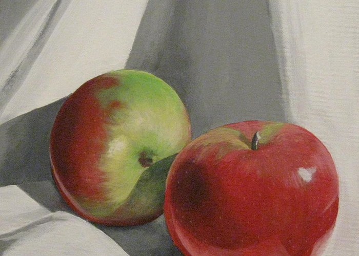 Apples Greeting Card featuring the painting Jonah Macs by Sharon Marcella Marston