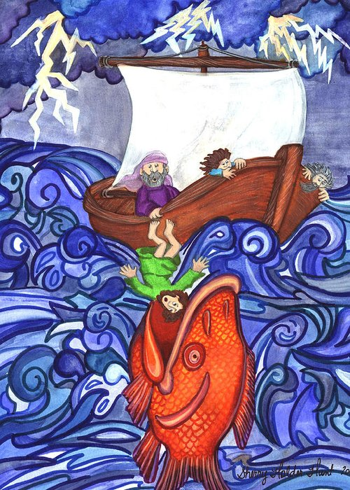 Watercolor Greeting Card featuring the painting Jonah by Sherry Holder Hunt
