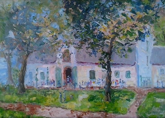 Dark Green Leaves Greeting Card featuring the painting Jonkerhshuis At Groot Constantia by Elinor Fletcher