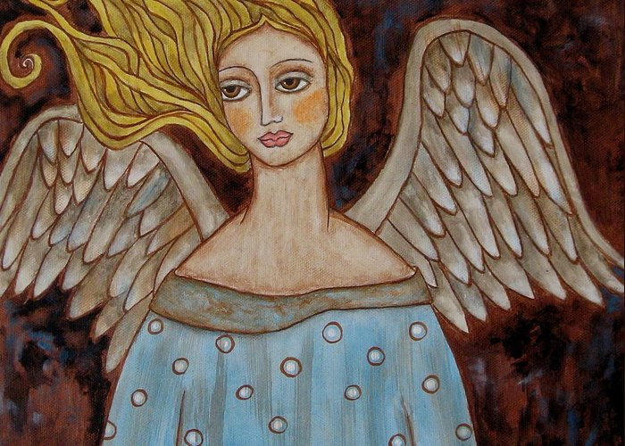 Folk Art Paintings Paintings Greeting Card featuring the painting Jophiel by Rain Ririn