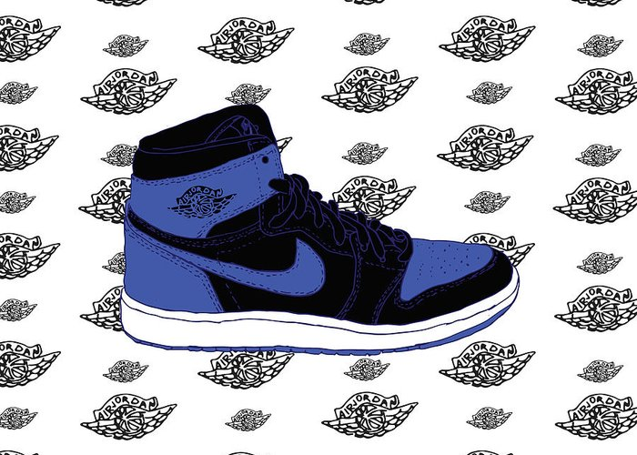 de609750a715 Jordan 1 Royal Greeting Card for Sale by Letmedraw Yourpicture