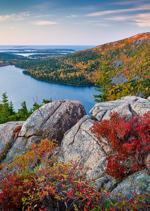 Acadia National Park Greeting Card featuring the photograph Jordan Pond Sunrise by Susan Cole Kelly