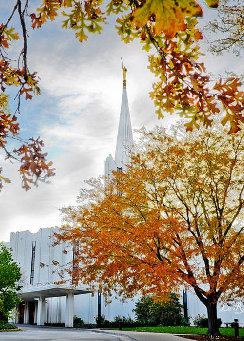Jordan River Temple Greeting Card featuring the photograph Jordan River Temple by La Rae Roberts
