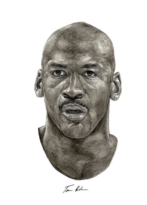 Michael Jordan Greeting Card featuring the painting Jordan by Tamir Barkan