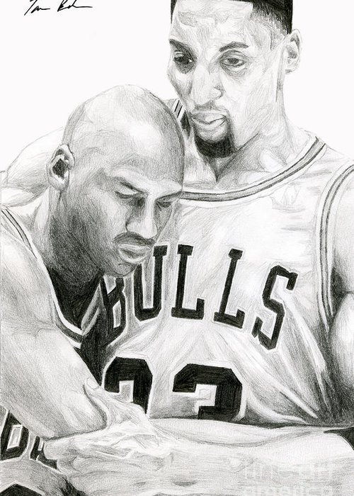 Michael Jordan Greeting Card featuring the drawing Jordan Will To Win by Tamir Barkan