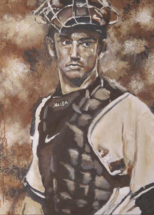 Jorge Rafael Posada Villeta (born August 17 Greeting Card featuring the painting Jorge Posada New York Yankees by Eric Dee